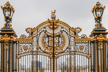 Ornate Gate At Buckingham Palace,  London, UK