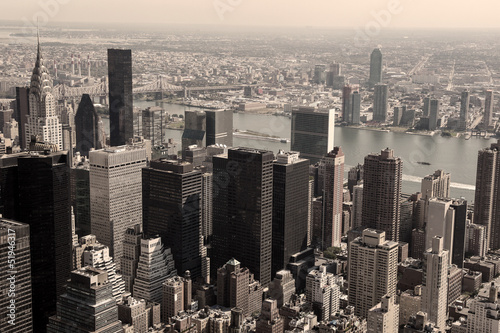 Skyline of Manhattan - sepia image #51946317