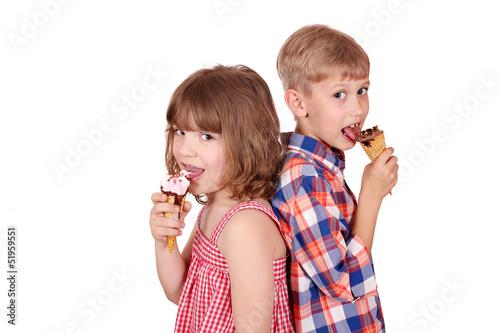 Little Girl And Boy Eating Ice Cream