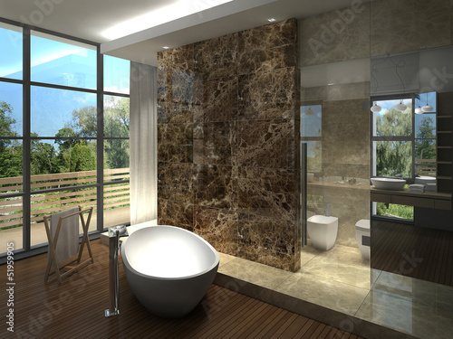 Valokuva  rendering of a modern  luxurious bathroom