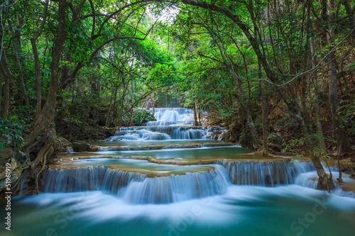 Spoed Foto op Canvas Grijze traf. Deep forest Waterfall in Kanchanaburi, Thailand