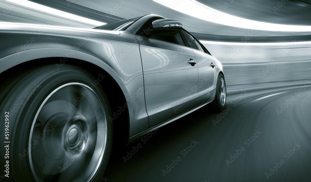 Fototapeta Car driving fast in tunnel