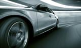 Fototapeta Perspektywa 3d - Car driving fast in tunnel