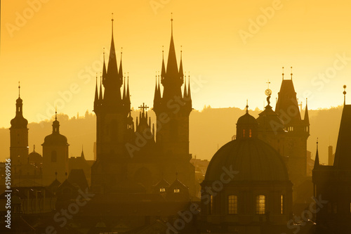 Poster Praag prague - spires of the old town