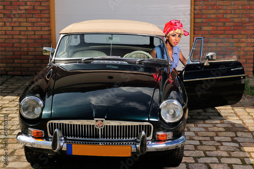 Deurstickers Oude auto s beauty, blond, car, girl, portrait, pin-up, retro, vinitage