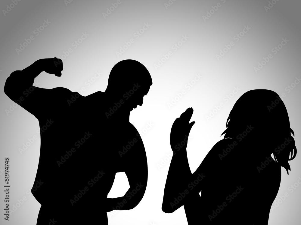 Fototapeta Ilustração sobre a violência doméstica - violência contra as mulheres