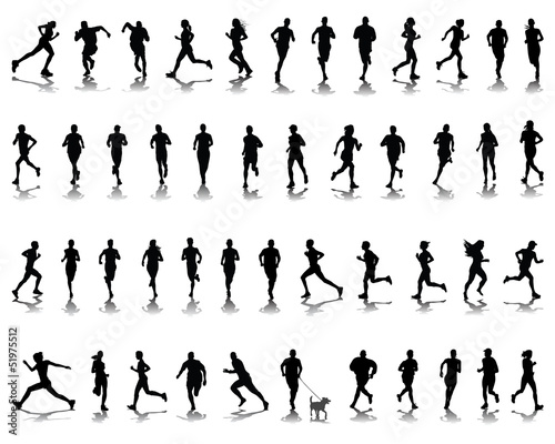 Fotografía  Silhouettes and shadows of running 2-vector