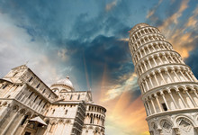 Pisa, Tuscany. Wonderful Wide Angle View Of Miracles Square
