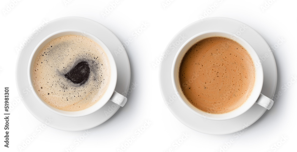 two cups of coffee isolated on white, top view