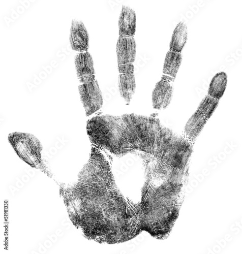 Fotografie, Obraz  Palm or hand print isolated on white