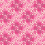 Seamless pattern, patchwork with hearts