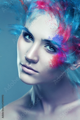 Aluminium Prints Painterly Inspiration woman with flying coloured powder above eye