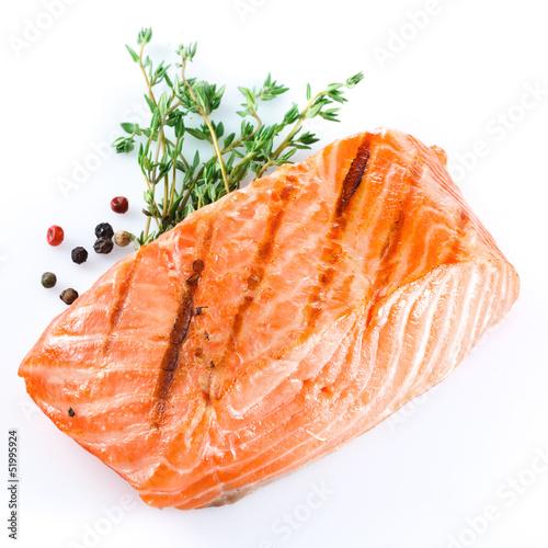Fotografie, Obraz  grilled salmon on white background