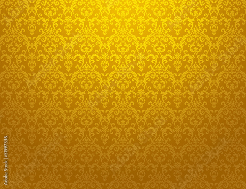 golden floral pattern wallpaper