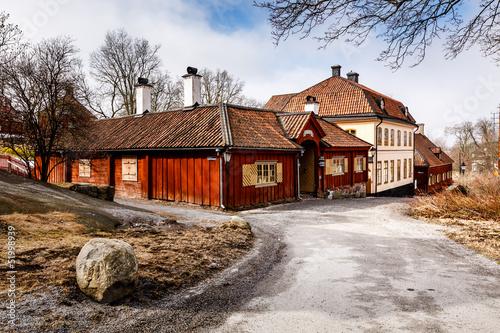 Staande foto Stockholm Traditional Swedish Houses in Skansen National Park, Stockholm,