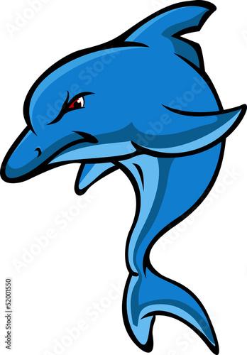 Staande foto Dolfijnen angry dolphin cartoon