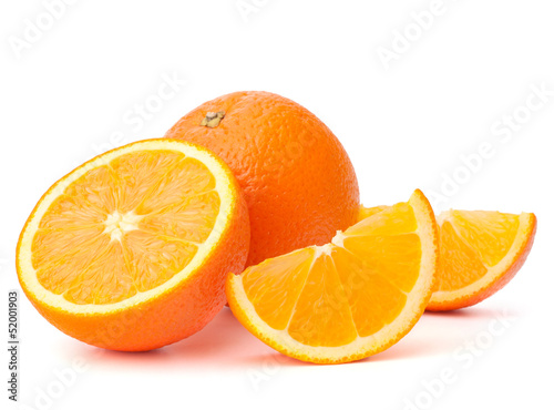 Fruits Whole orange fruit and his segments or cantles