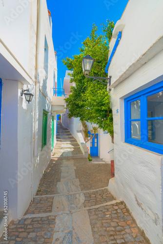 Naklejka premium Grecja Syros wyspy architektura wśrodku głównego capitol z widokiem o