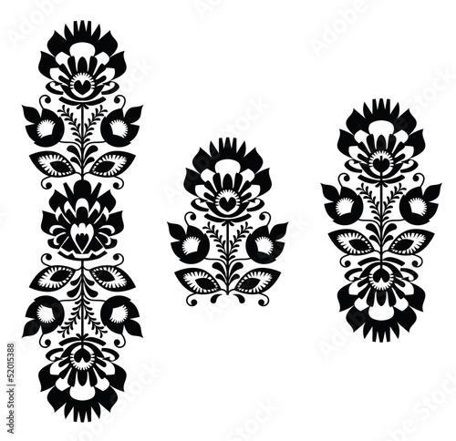 haft-ludowy-kwiatowy-tradycyjny-polski-w-czerni-i-bieli