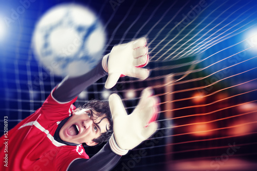 Aluminium Prints Goalkeeper catches the ball
