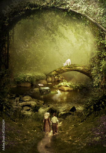 The road in fairy tale.Small children in the magical forest - 52025634