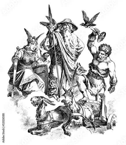 Photo  Germanic/Nordic Gods : Freya - Wotan - Thor