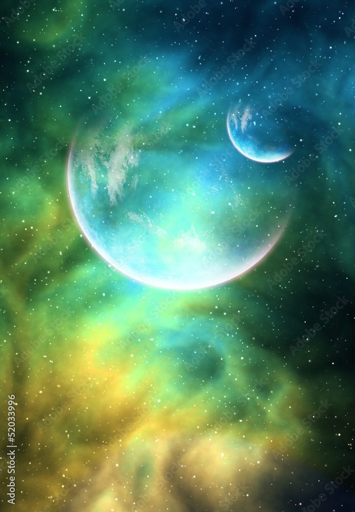 Fototapeta Background with a Planet, Moon and Nebula