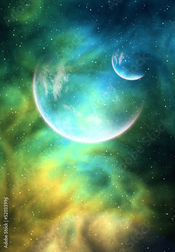 Fototapety, obrazy: Background with a Planet, Moon and Nebula
