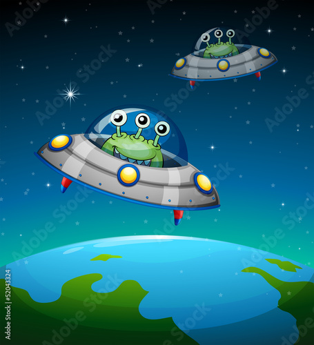 Poster de jardin Creatures Spaceships with aliens