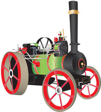 A Green And Red Steam Traction Engine