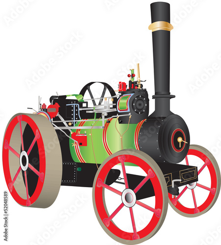 Fotografia A Green and Red Steam Traction Engine