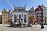 Fototapeta Miasto - Neptune Fountain in Gdansk