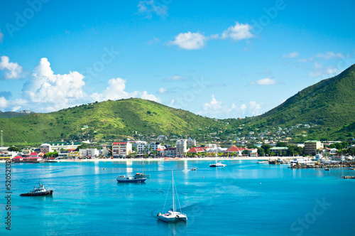 Spoed Foto op Canvas Caraïben Beautiful panorama of Philipsburg, Saint Martin, Caribbean Islan