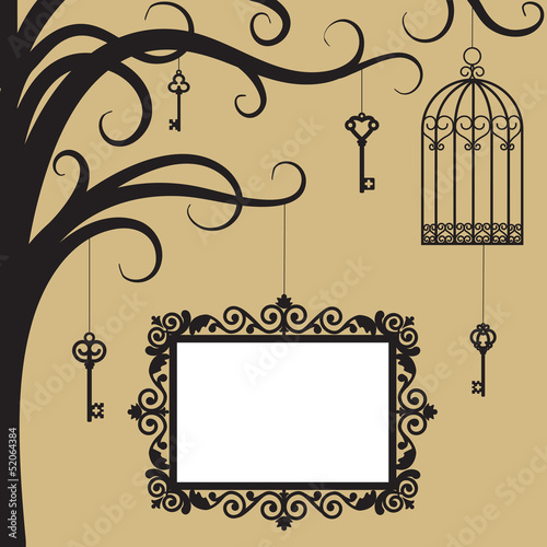Acrylic Prints Birds in cages Vintage card