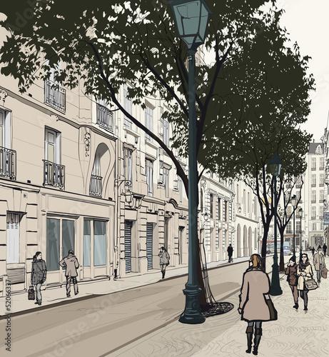 Foto auf AluDibond Gezeichnet Straßenkaffee Montmartre in Paris