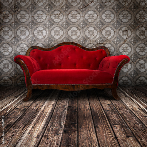 Fotografie, Obraz  Empty Red Couch