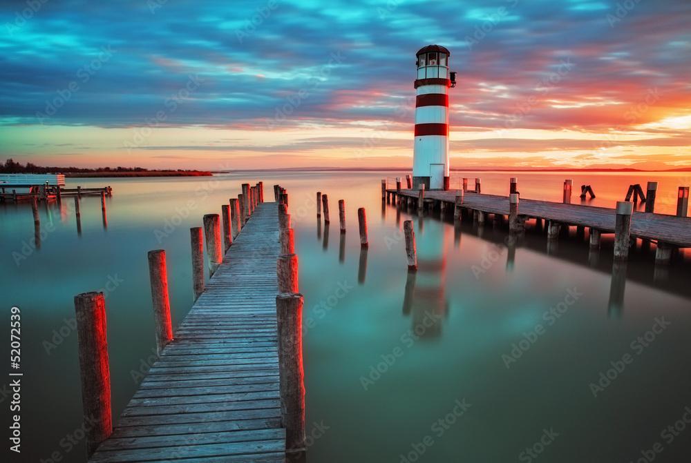 Fototapeta Lighthouse at Lake Neusiedl - Austria