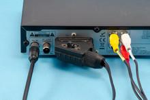 Tv Dvb-t Receiver Back Side Scart Tulip Wires Plug