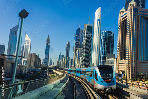 Fotografie, Obraz  Dubai Metro. A view of the city from the subway car