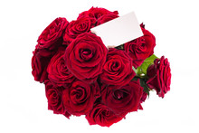 Bouquet Of Red Roses With A Blank