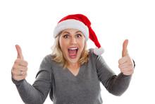 Christmas Woman Giving Thumbs Up