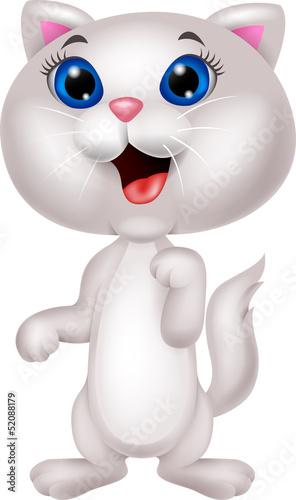 Printed kitchen splashbacks Cats Cute white cat cartoon