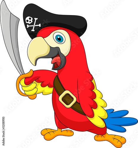 Poster Cute parrot pirate cartoon