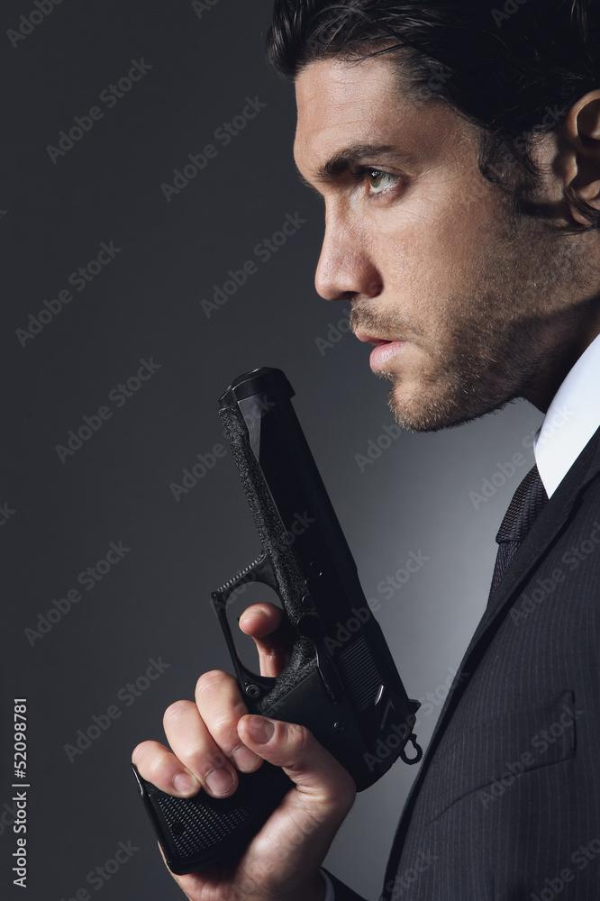 Fototapeta Half portrait of a seductive spy