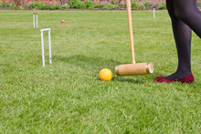 Swing The Mallet On Croquet Lawn