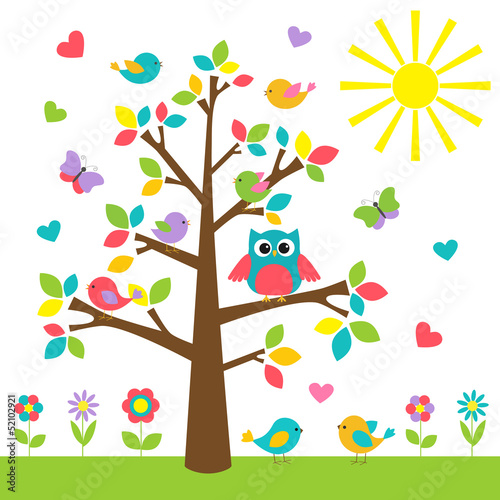 Colorful tree with cute owl and birds Canvas Print