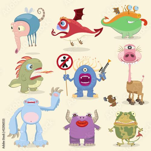 Deurstickers Cartoon monsters collection