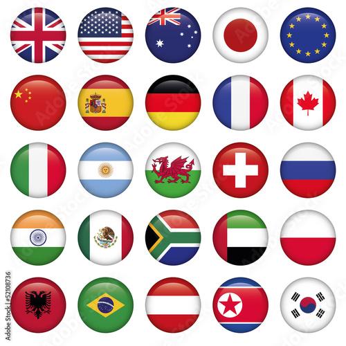Fotografie, Obraz  Set of Round Flags world top states