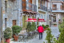 The Famous Resort Of Arachova On Mountain Parnassos, Greece