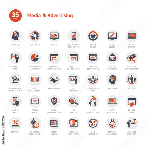 Fotografie, Obraz  Media and Advertising icons